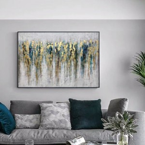 Hand Painted Living Room Art Wooden Frames Abstract Oil Canvas Painting